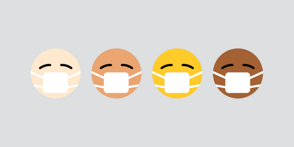 Emojis with masks on against grey background